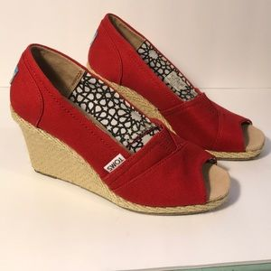 Toms open/peep toe wedge shoes